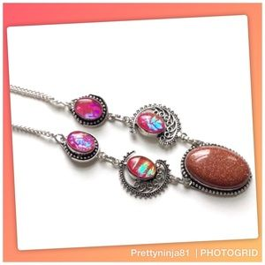 Colorful Triplot Gemstone Statement Necklace New